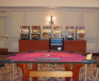 Casino Party Nights Florida, Inc. slot machines and blackjack table with stools, private wedding, Coconut Grove, Florida